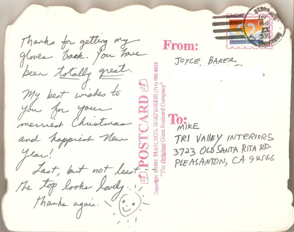 postcard thanking tri-valley auto interiors for outstanding service.