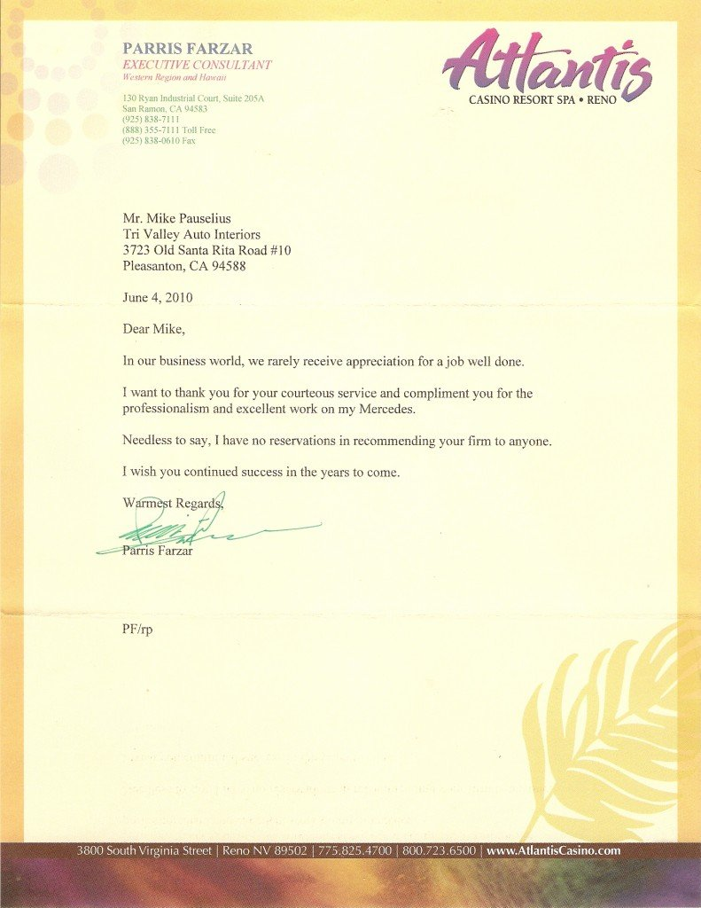 Testimonial letter of appreciation for great auto upholstery services.