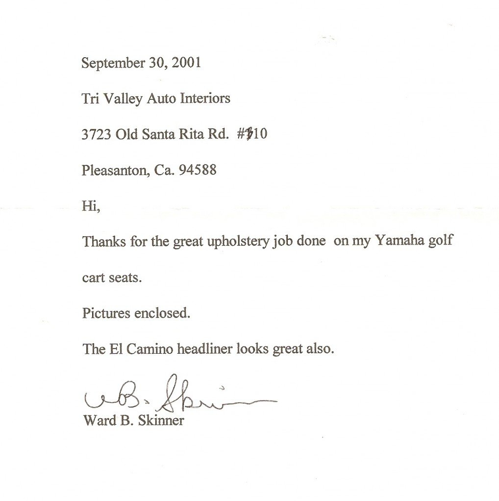 Letter thanking Tri-Valley Auto Interiors for great upholstery services.